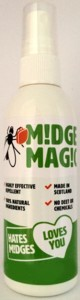 Bottle of natural midge repellant spray, made with Lemon Eucalyptus and Scottish bog myrtle